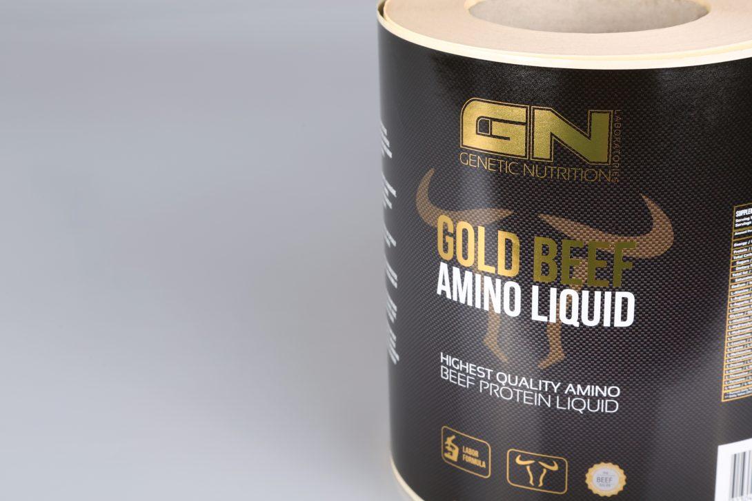 Nahrungsergänzungsmittel Rollenhaftetikett gold